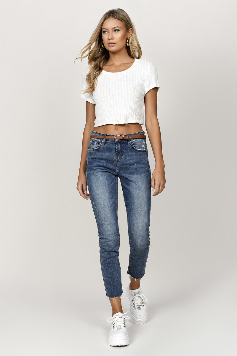 d4069d2a6dc Blue Jeans - High Waisted Casual Jeans - Ankle Crop Blue Jeans - $44 ...