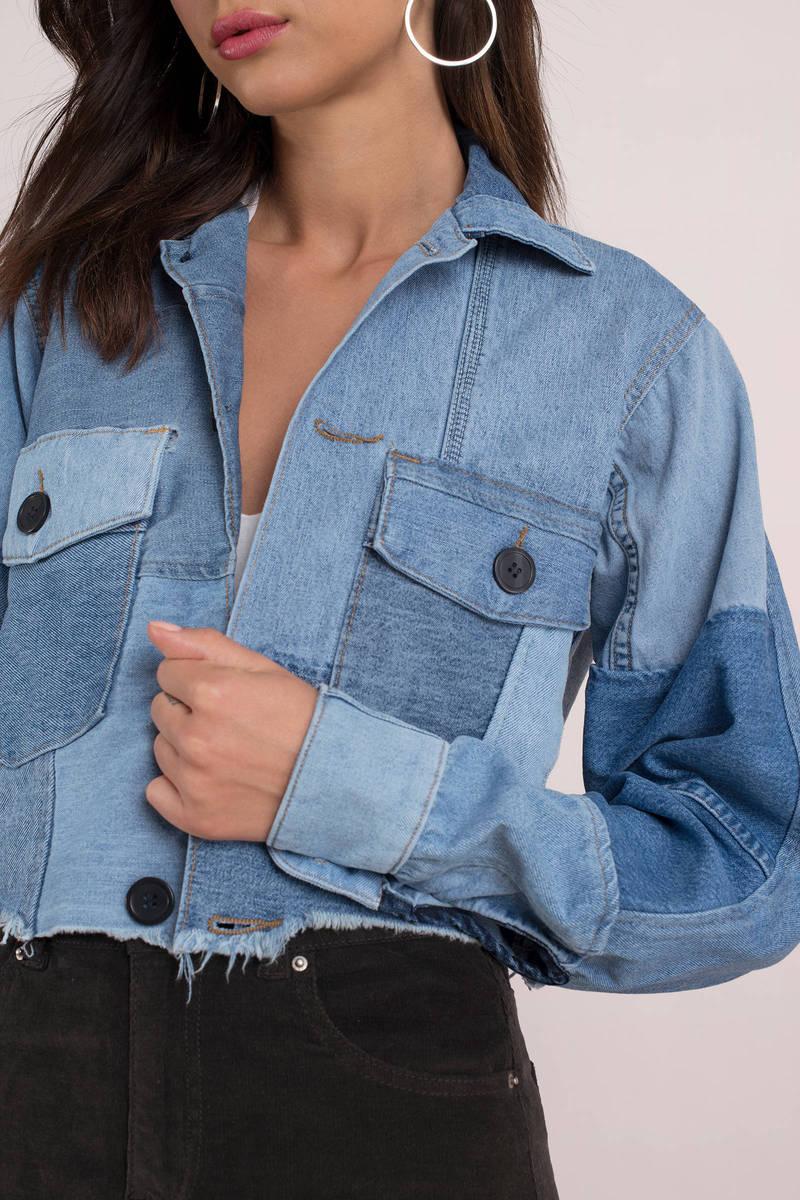 beb72e74795 Daydreamer Los Angeles Daydreamer Vintage Patchwork Medium Wash Denim  Cropped Jacket