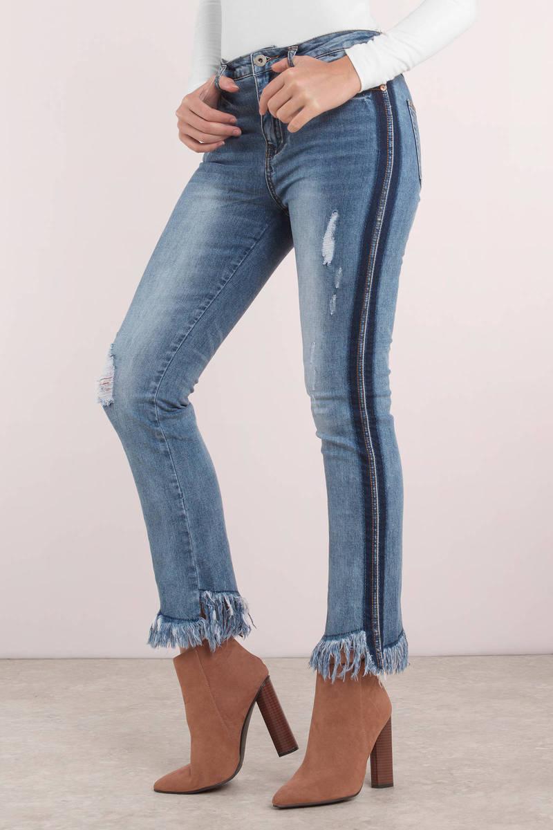 ffef608bc98c Blue Jeans - Medium Washed Jeans - Blue Frayed Pants - Side Stripe ...