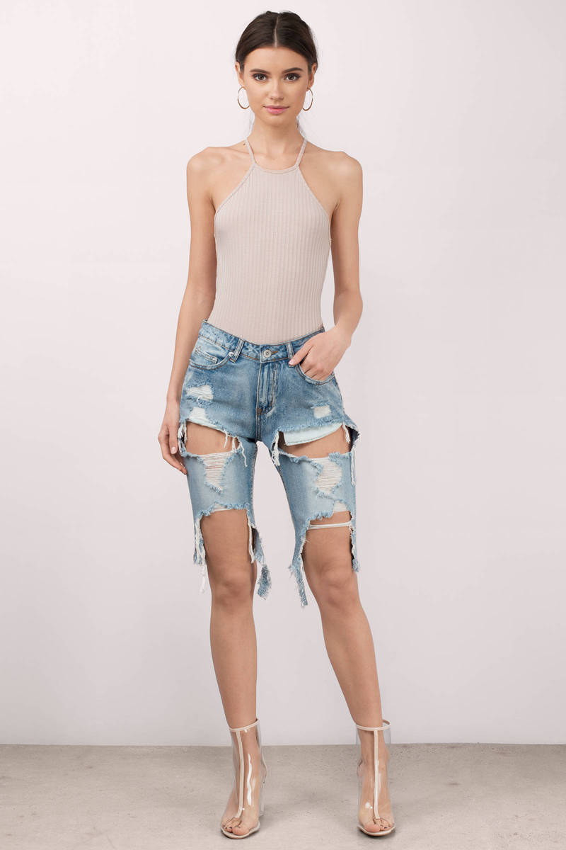Medium Wash Denim Shorts - Distressed Denim Shorts - Blue Denim ...