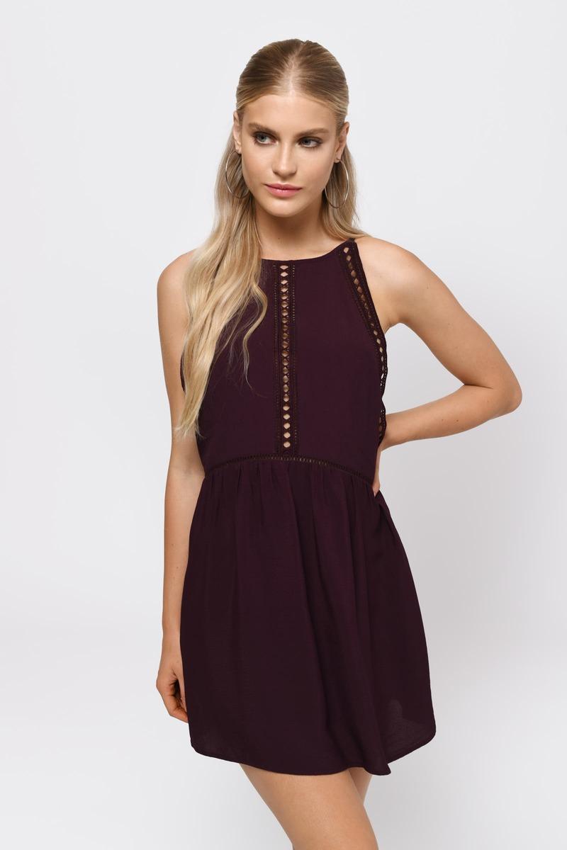 Cute Merlot Dress - Open Back Dress - Merlot Dress - $28 | Tobi US