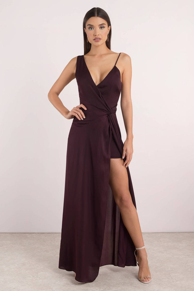 ffdae2da104 Sexy Wine Maxi Dress - Surplice Maxi Dress - Red Gown - High Slit ...