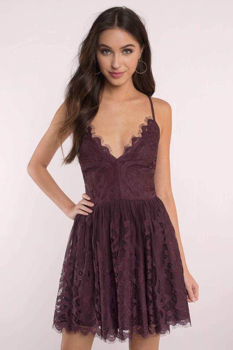 1a6c09634da6 Merlot Dress - Strappy Back Dress - Pretty Purple Dress - Skater ...