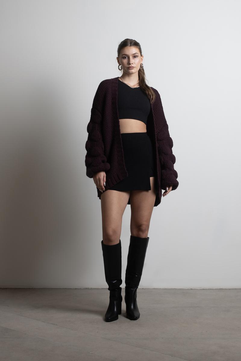 5ff139040ff Burgundy Cardigan - Pom Pom Cardigan - Burgundy Oversized Sweater ...