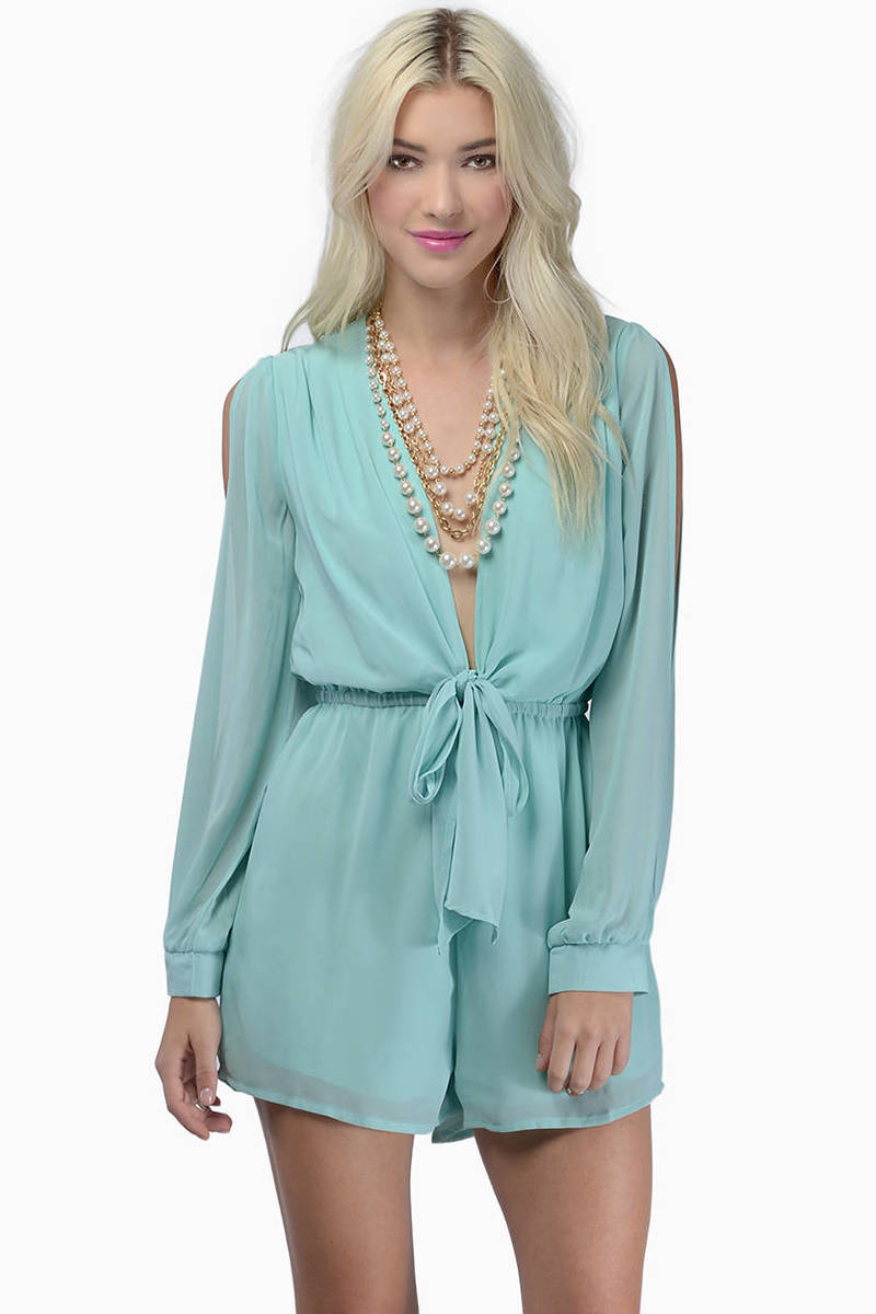 Calypso Mint Plunging V Long Sleeve Romper