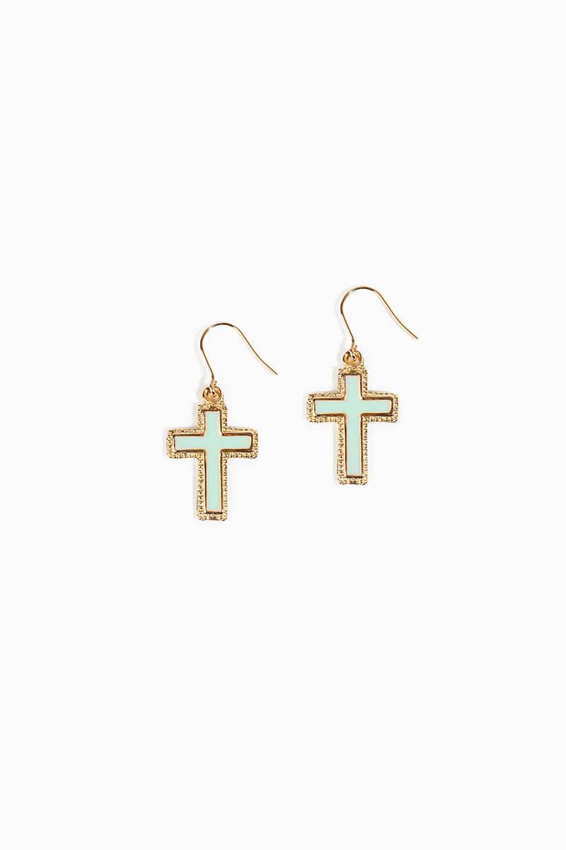 Cross Mint Dangle Earrings