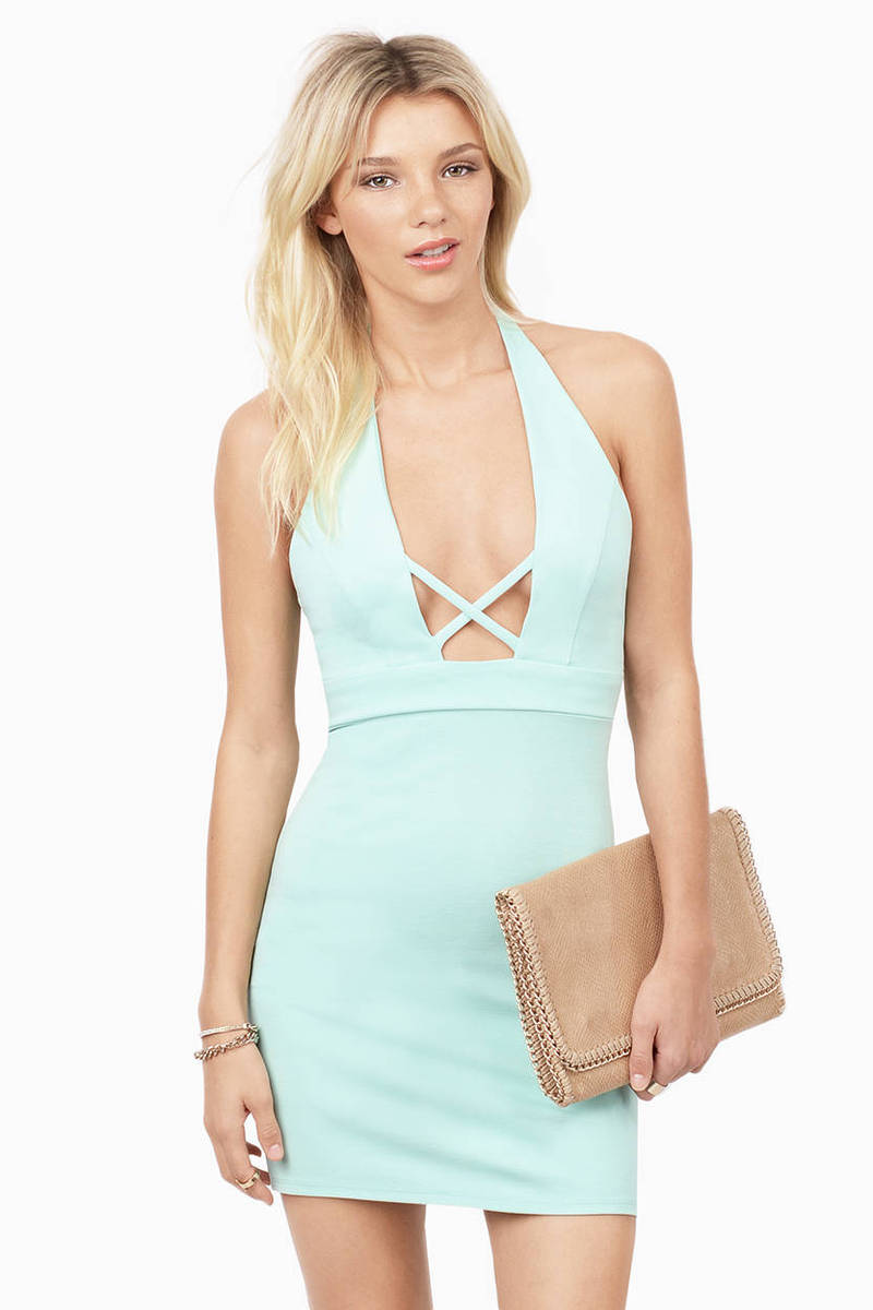Crossed Again Mint Bodycon Dress