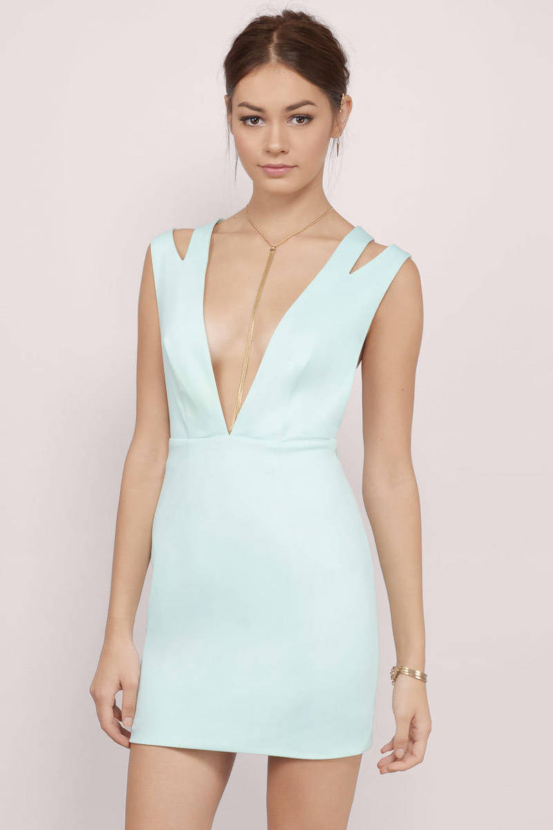 Cut And Paste Mint Bodycon Dress