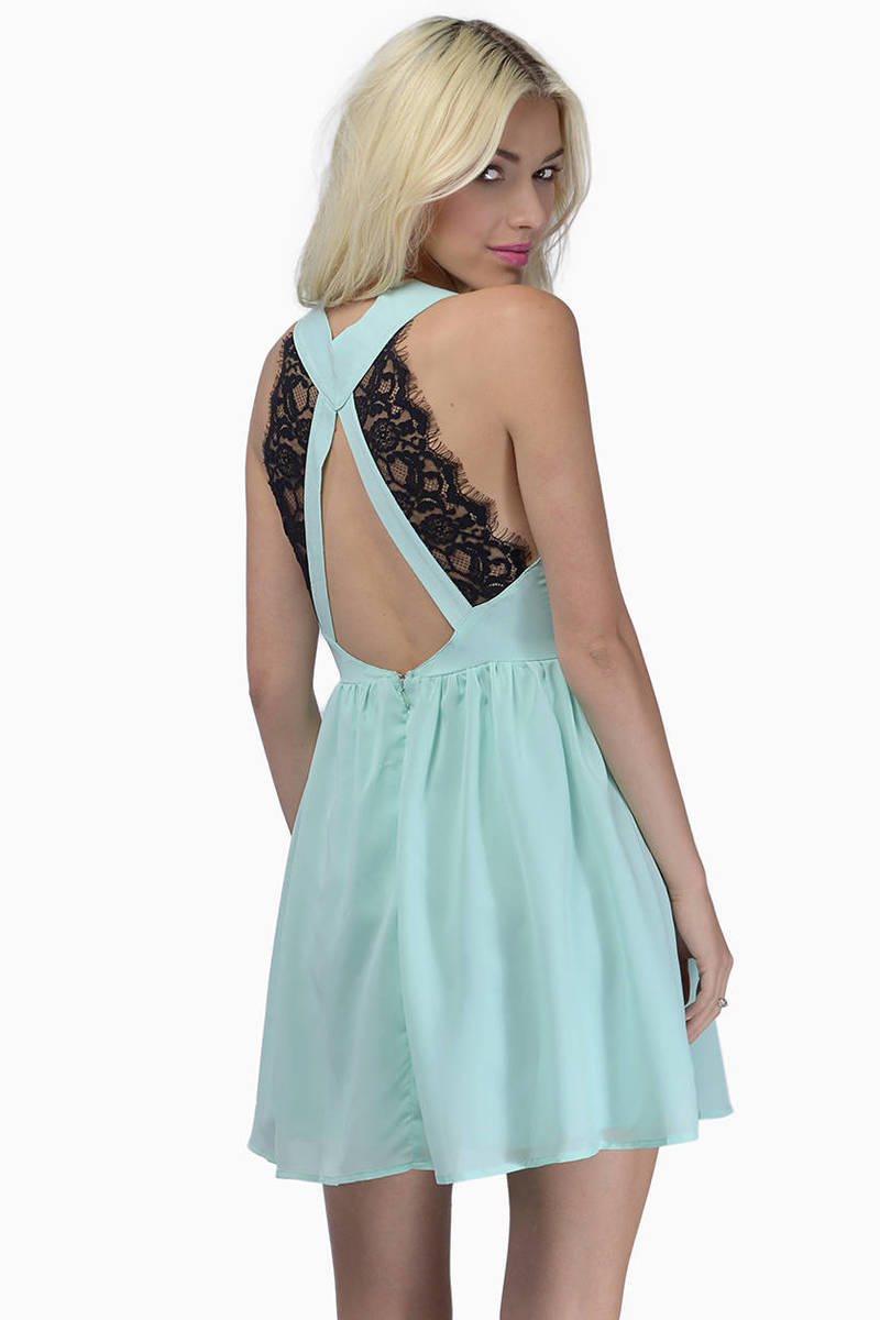 6d05db9362 Mint Skater Dress - Green Dress - Deep V Dress - Sea Blue Dress ...