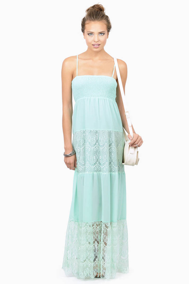 Ethereal Beauty Mint Sheer Maxi Dress