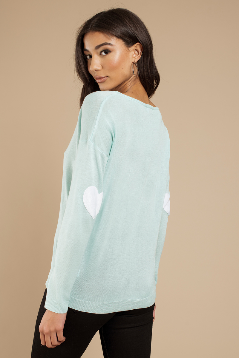 Heart On My Sleeves Mint Boat Neck Sweater