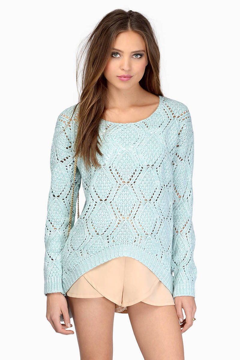 Krista Mint Crochet Sweater