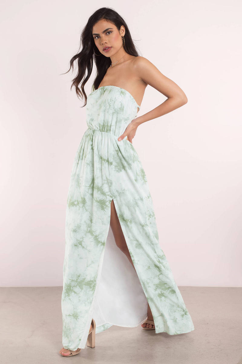 Cute Maxi Dress Sleeveless Dress Green Dress Boho Tie Dye