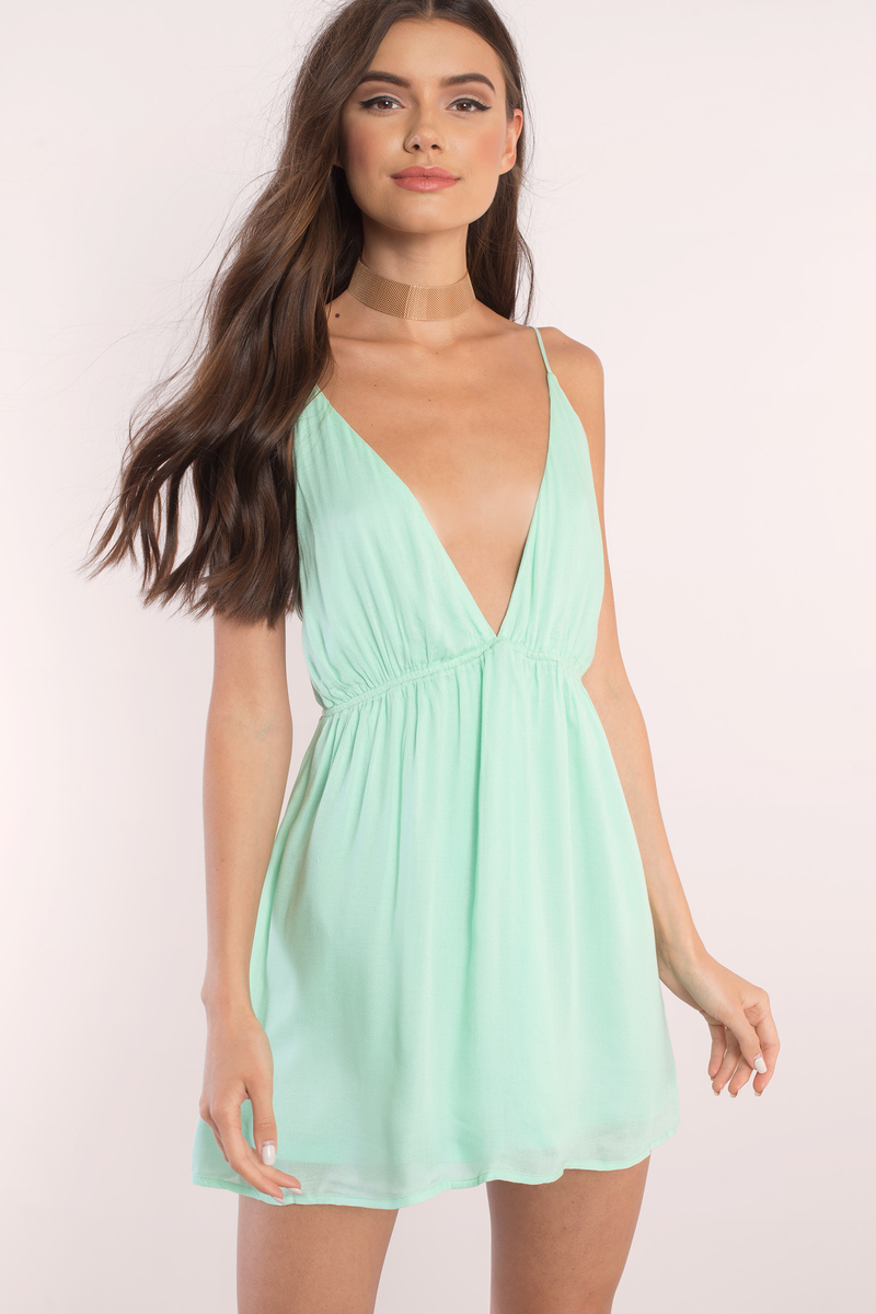 e6a6f677eca Sexy Mint Green Dress - Plunging Dress - Cami Dress - Skater Dress ...