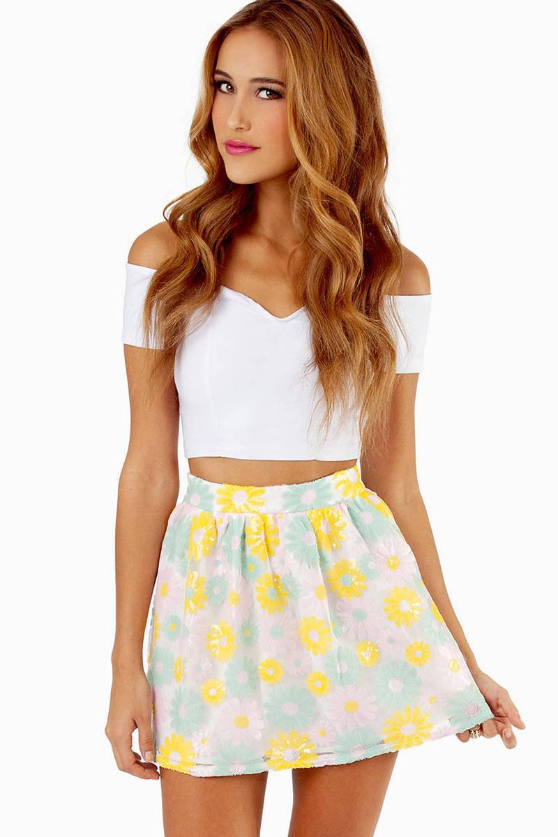 Daisy Crazed Sequin Skirt