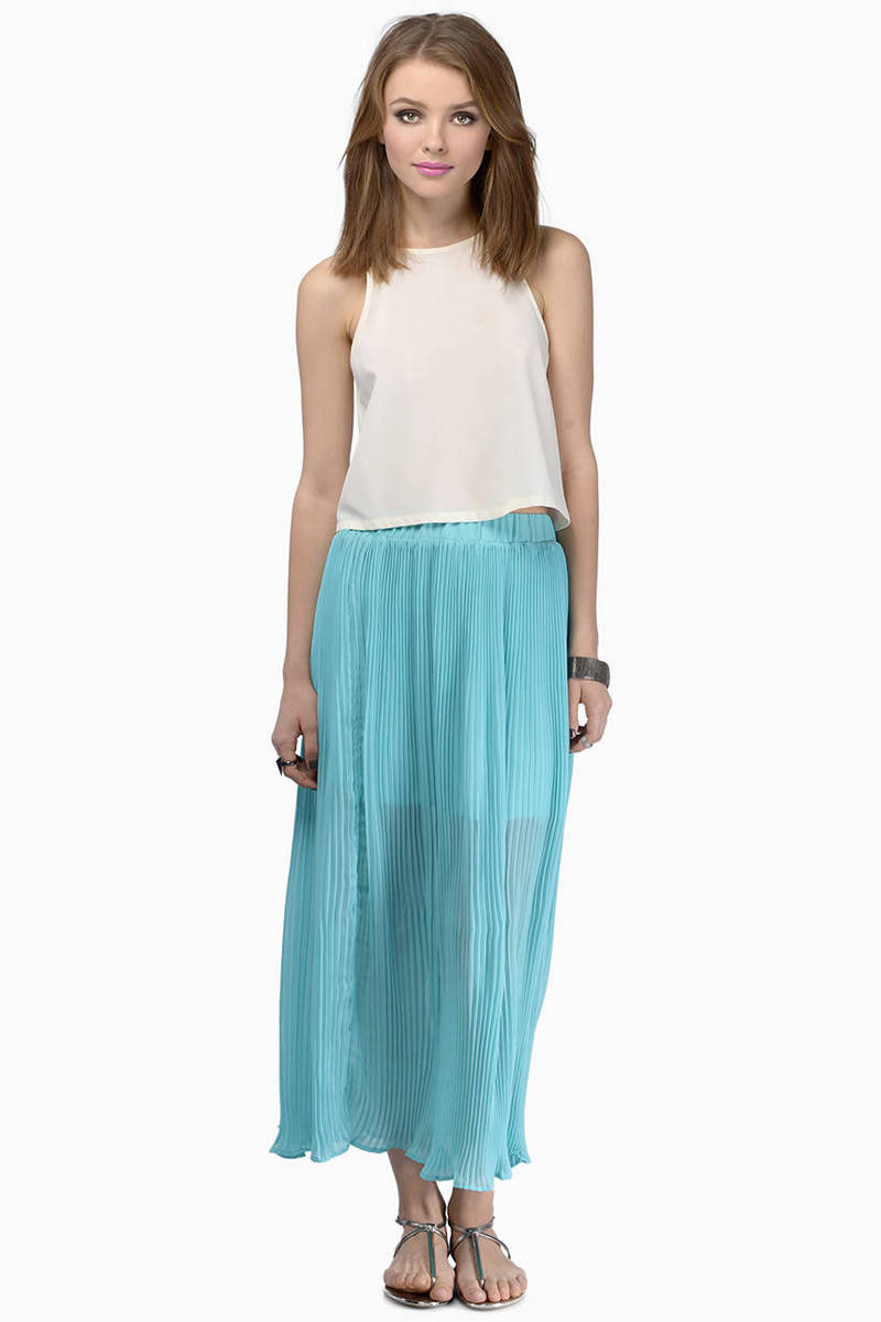 Mint Skirt - Green Skirt - Accordion Maxi Skirt - Maxi Pleated ...