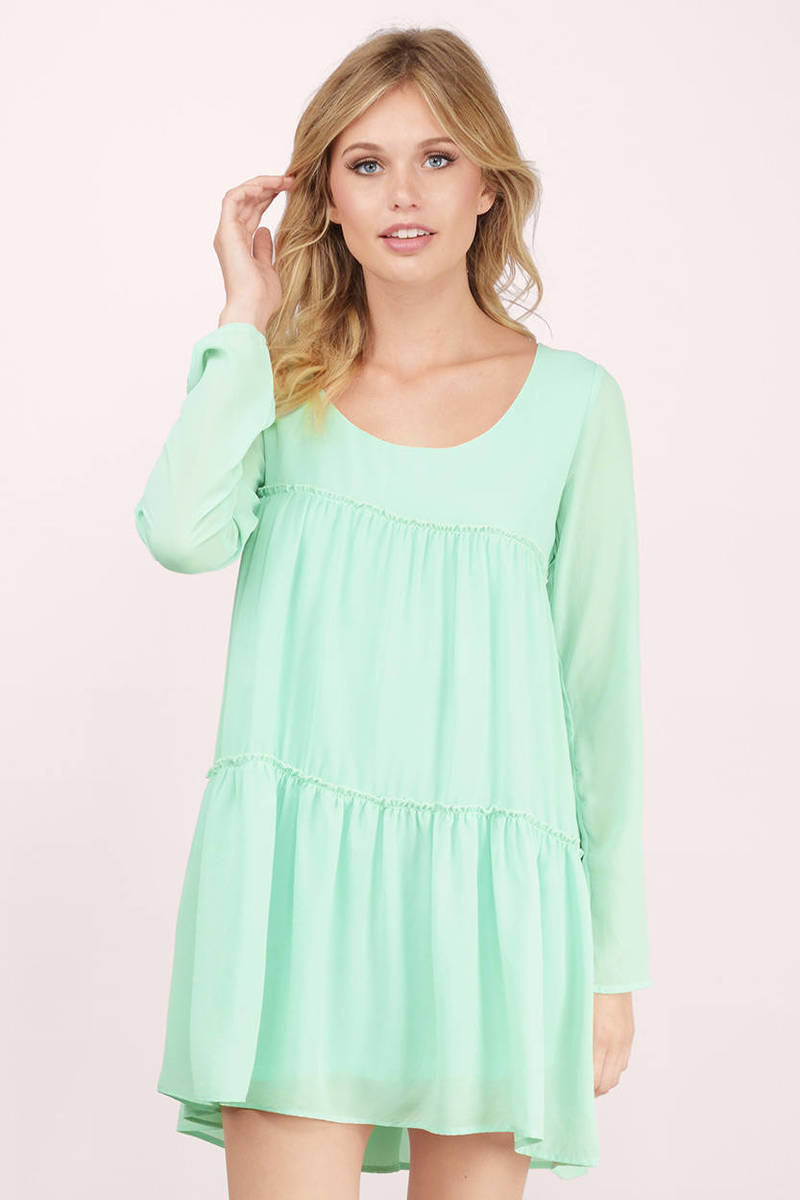 5586c5299f7c Cute Mint Green Shift Dress - Long Sleeve Dress - Tiered Dress -  10 ...