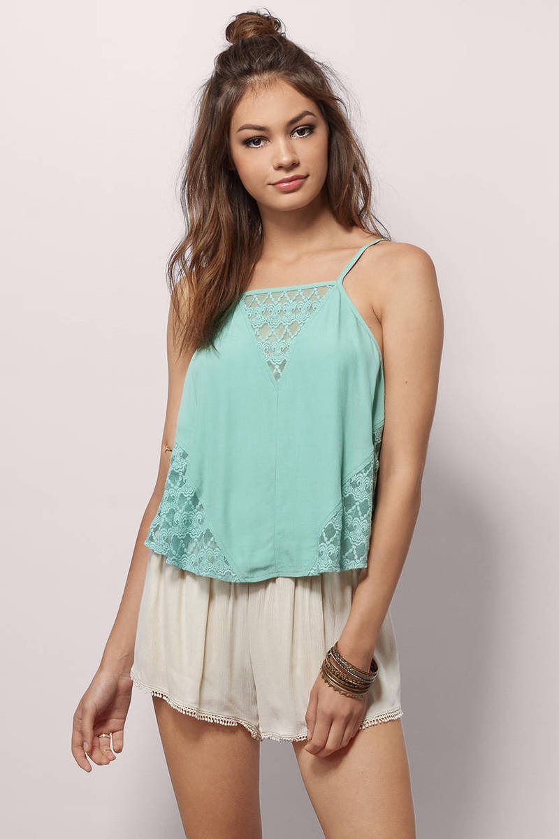 Under The Sun Mint Lace Tank Top