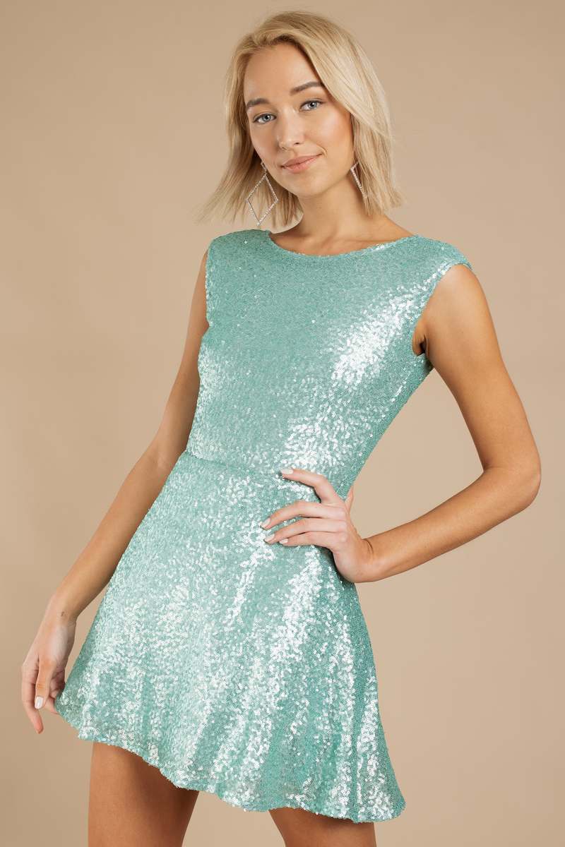 Mint Skater Dress - Open Back Dress - Sparkly Rose Blue Dress - $17 ...