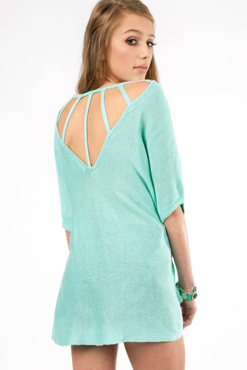 Webbed Back Mint Sweater
