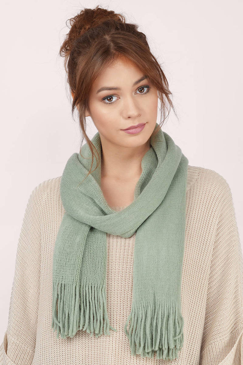 Wildfire Mint Skinny Fringed Scarf