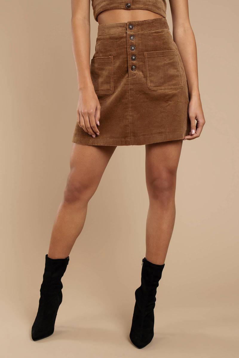 688eef2ec Brown Lost + Wander Skirt - Corduroy Skirt - Brown Mini Skirt - $88 ...