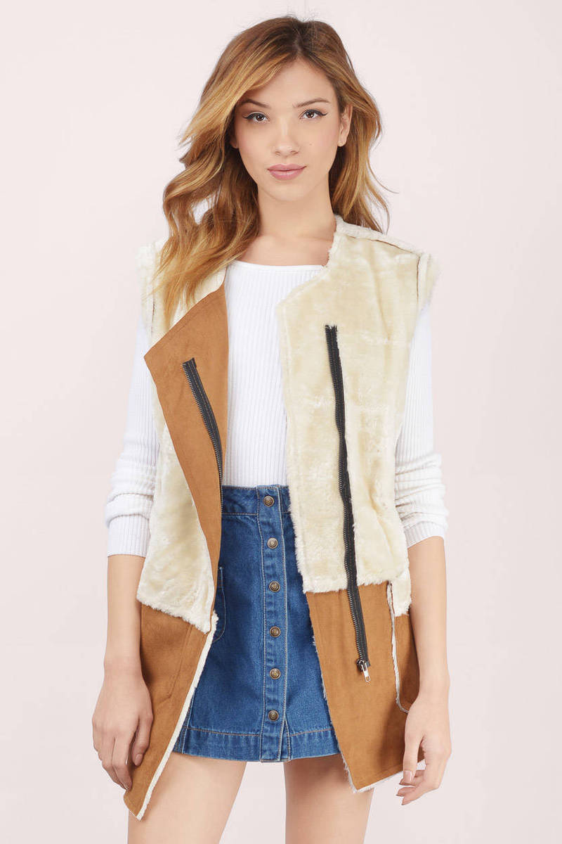 Aspen Zippered Mocha Shearling Vest