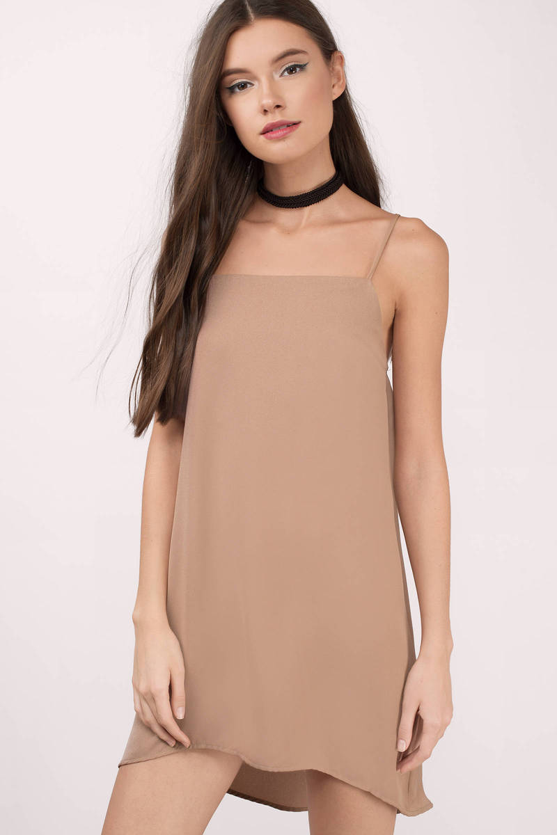 Can You Tell Mocha Chiffon Shift Dress