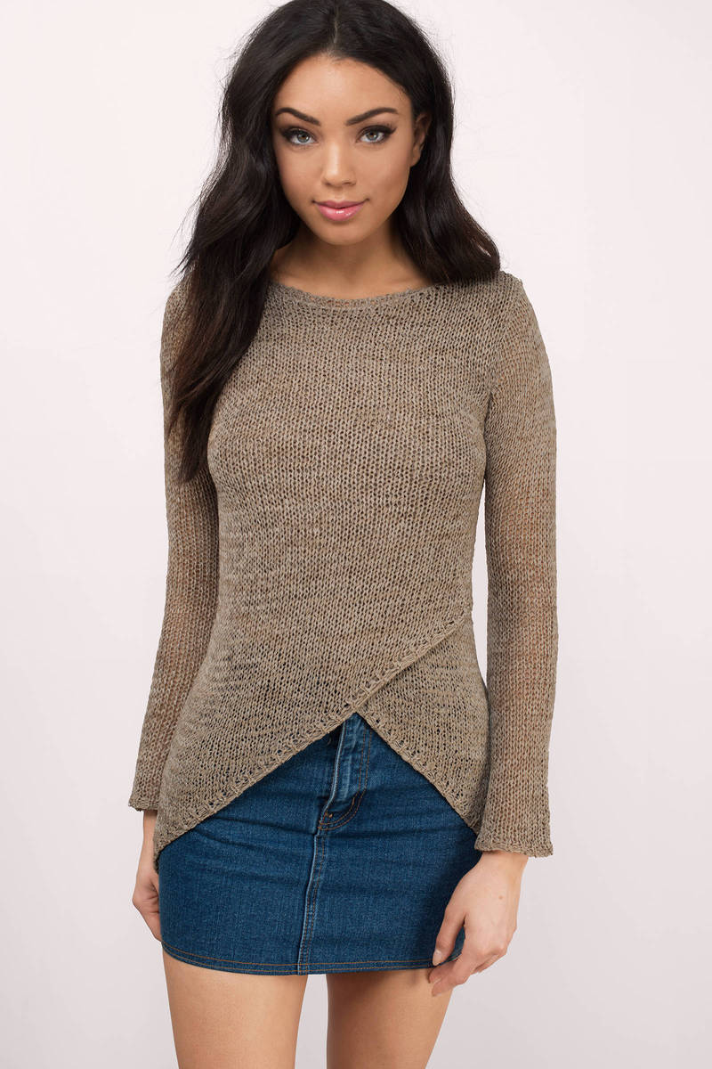 Moon River Moon River Chanelle Mocha Knitted Sweater