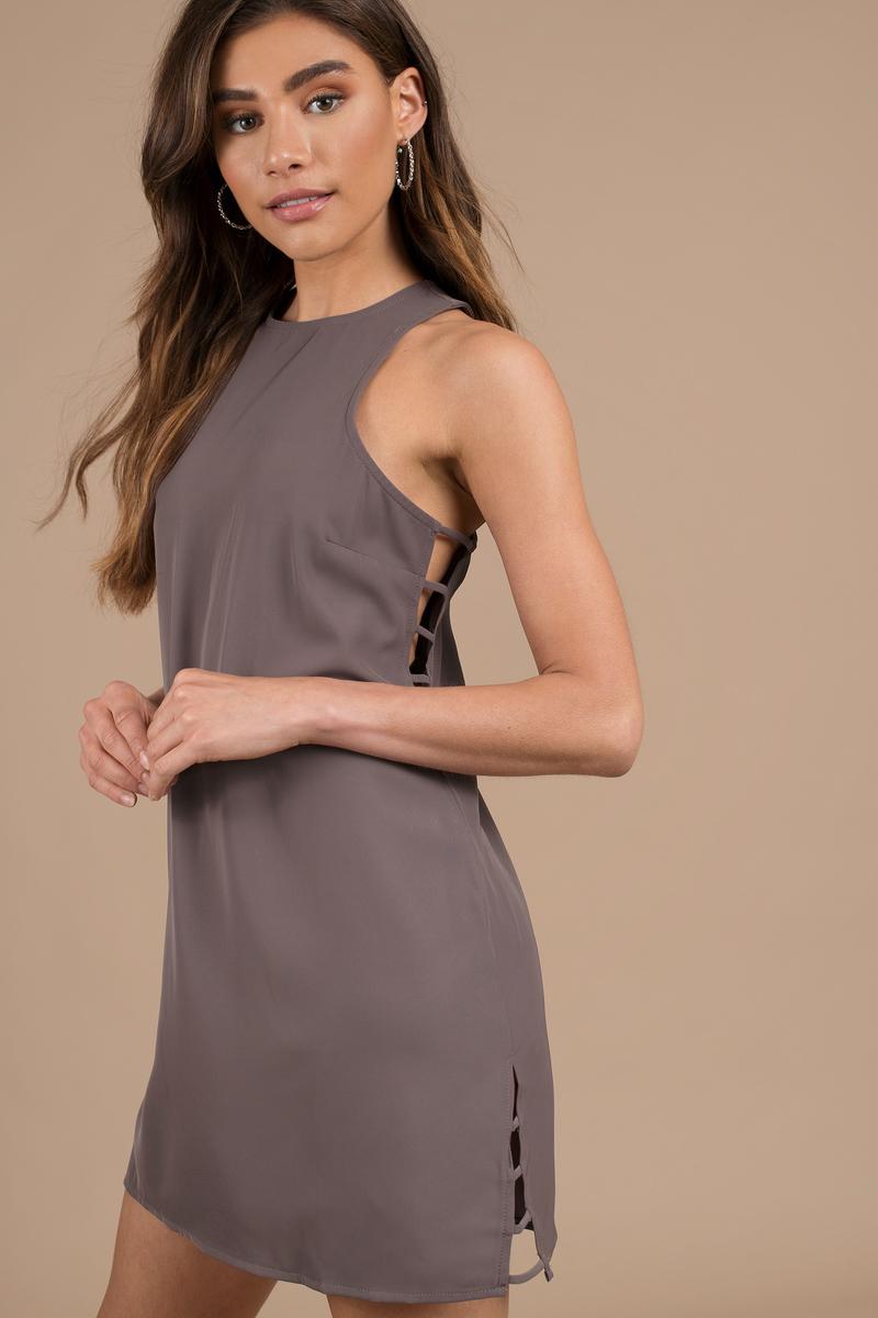 b4b7863df1ec Grey Shift Dress - Casual Dress - Grey Strappy Dress - Work Dress ...