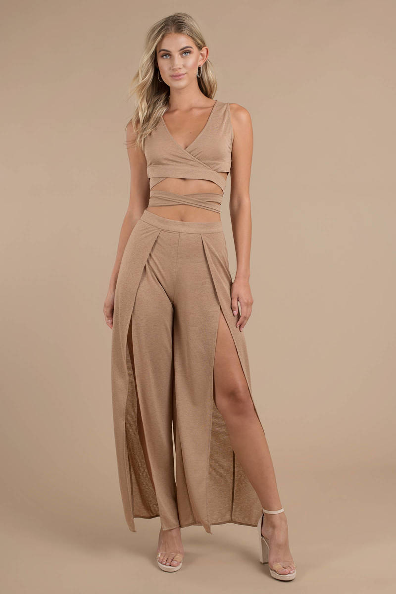 8f050e424e64bf Deeanna Mocha Front-Split Pants And Crop Top Set -  29