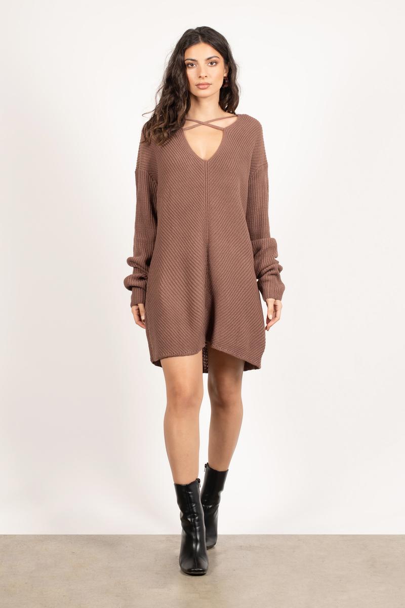 Brown Casual Dress - Sweater Dress - Brown Lace Up Dress - € 34 ... b00318f4d