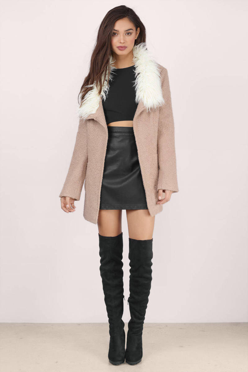 Trendy Mocha Coat - Brown Coat - Faux Fur Coat - $32.00