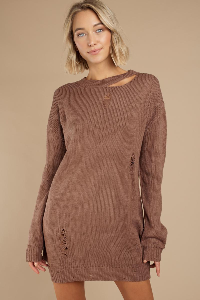 Kim Black Distressed Sweater Dress - $33 | Tobi US