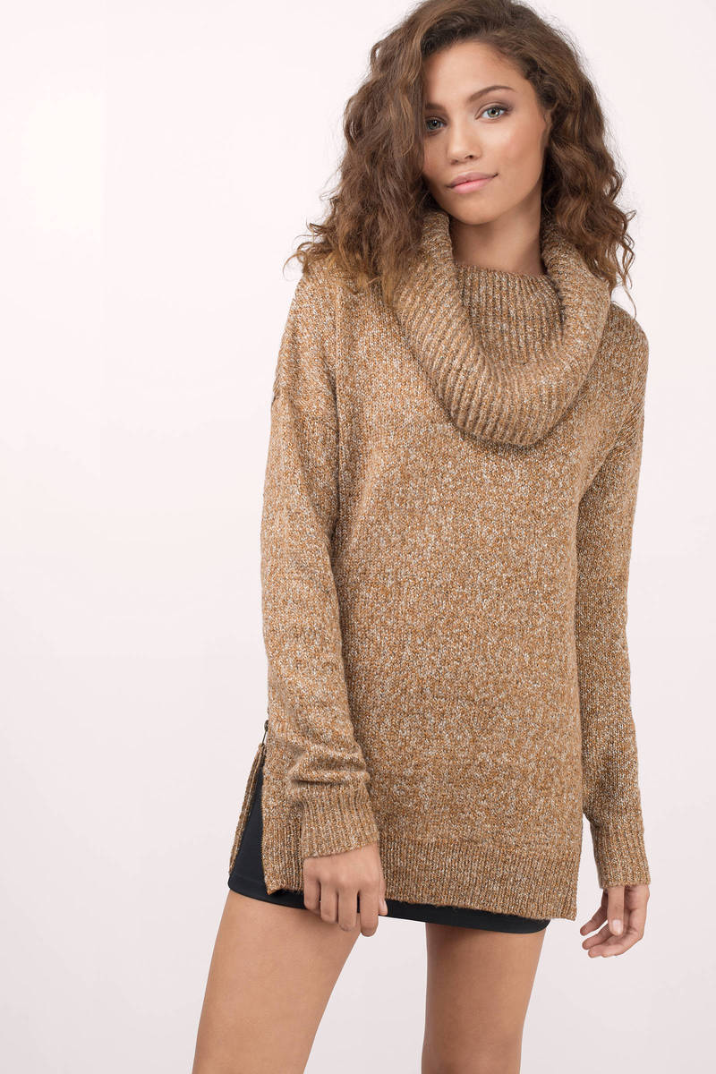 Honey Punch Honey Punch Love Somebody Mocha Cowl Sweater