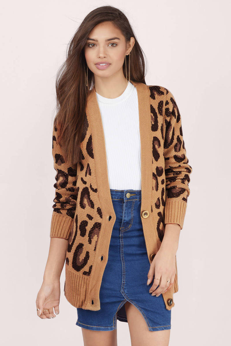 Fierce Fiona Mocha Multi Animal Print Knitted Cardigan