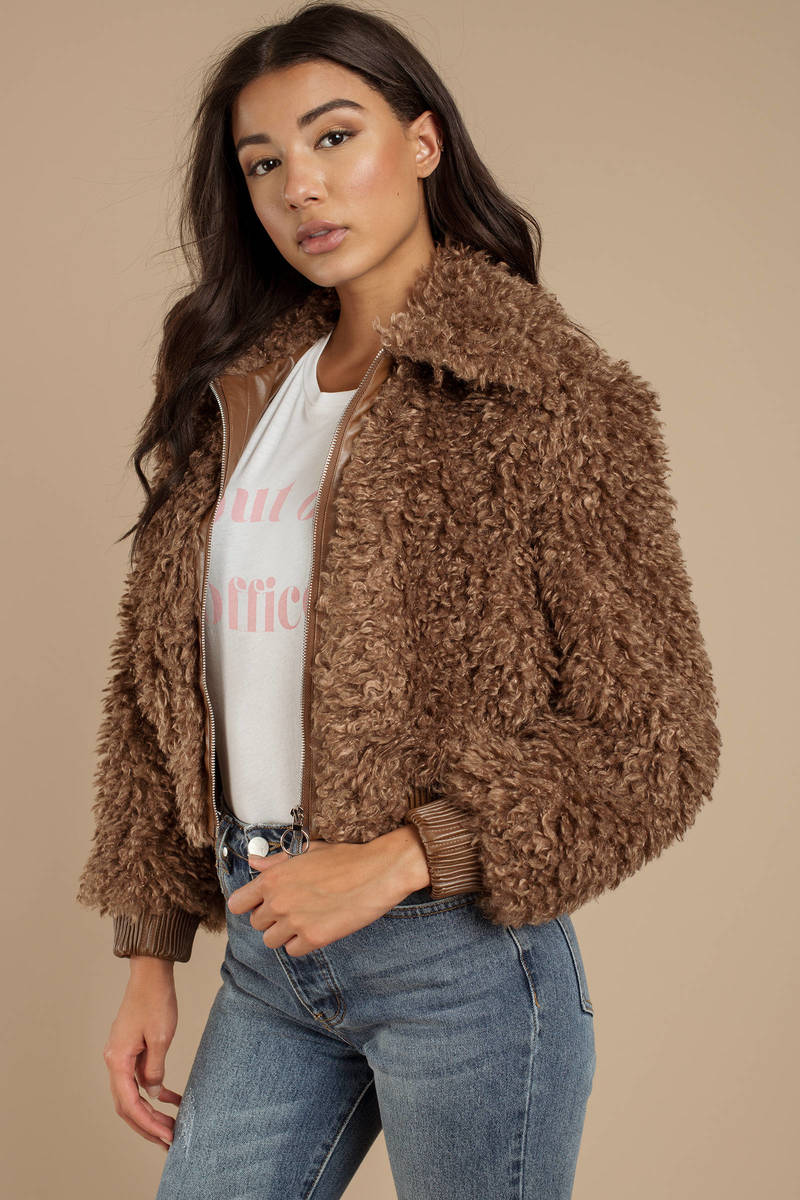 0d518546a6ca Brown Astr Jacket - Teddy Coat - Brown Shaggy Faux Fur Coat - $138 ...