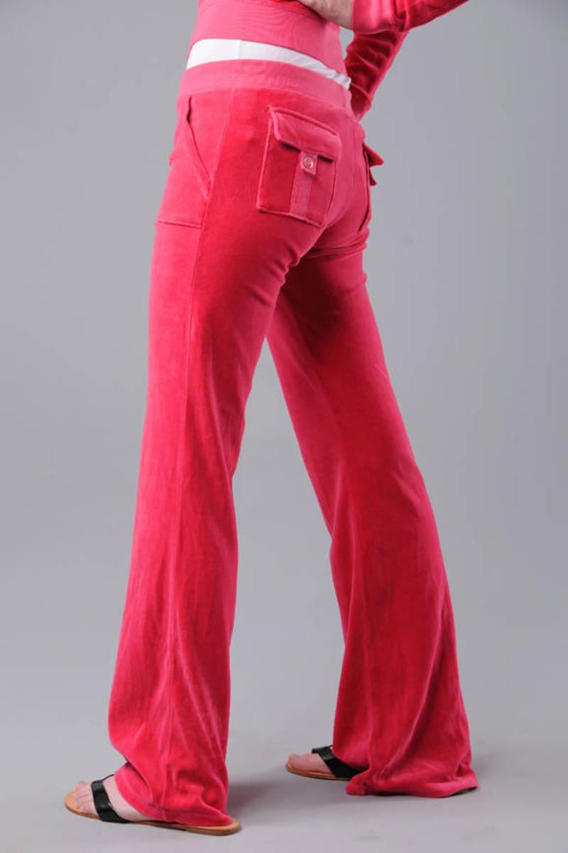 Pink Juicy Couture Pants Designer Velour Pants Pink Pocket Pants 120 Tobi Us