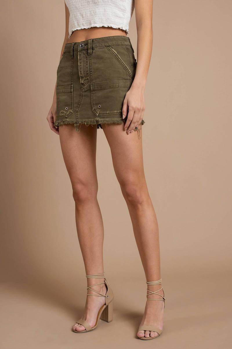 1590681b6fb Green Free People Skirt - Canvas Mini Skirt - Green Utility Skirt ...
