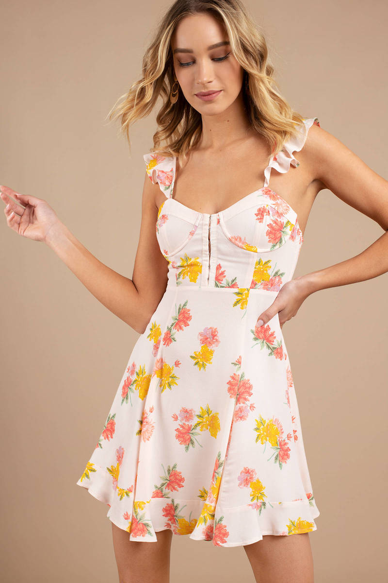 4a56b16faad79 White Floral Skater Dress - Date Dress - White Floral Cami Dress ...