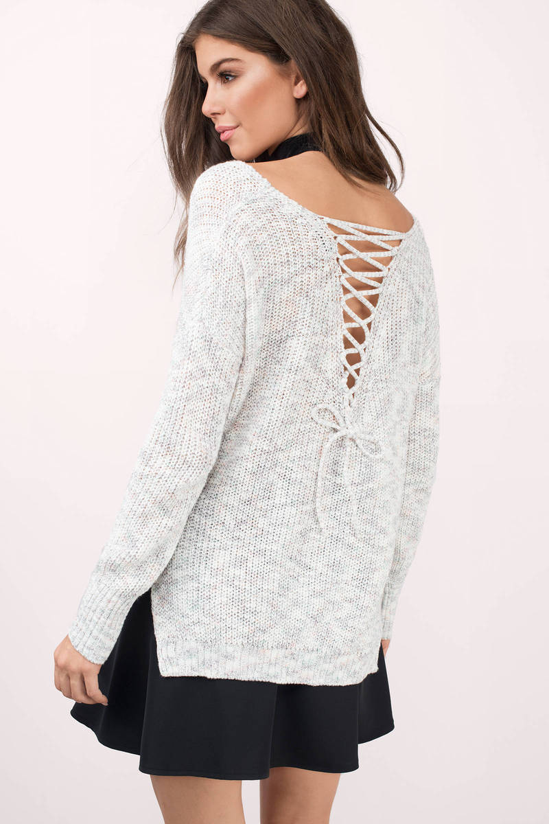 Camille Lace Up Sweater
