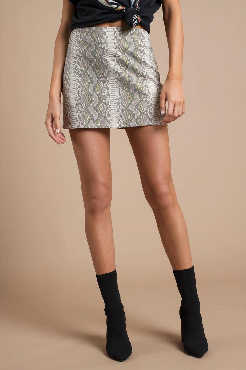 ff6d27995b Grey Skirt - Snakeskin Print Skirt - Grey Mini Skirt - $74 | Tobi US