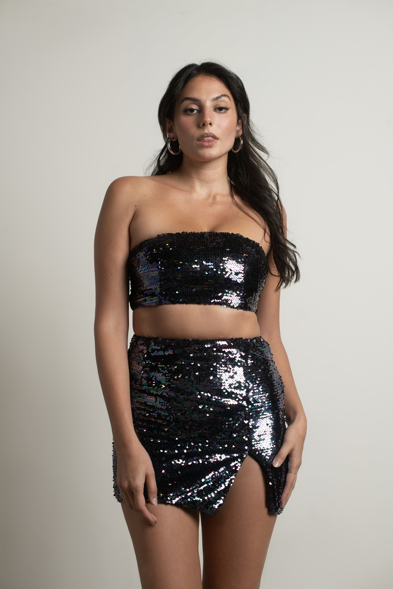 Everything and More Sequin Crop Top in Multi