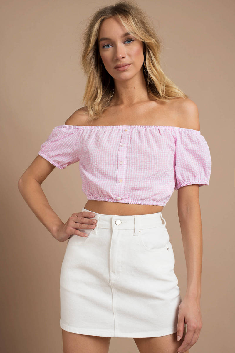 e1a225e353d337 Trendy Minkpink Crop Top - Off Shoulder Crop Top - Pink Gingham Top ...