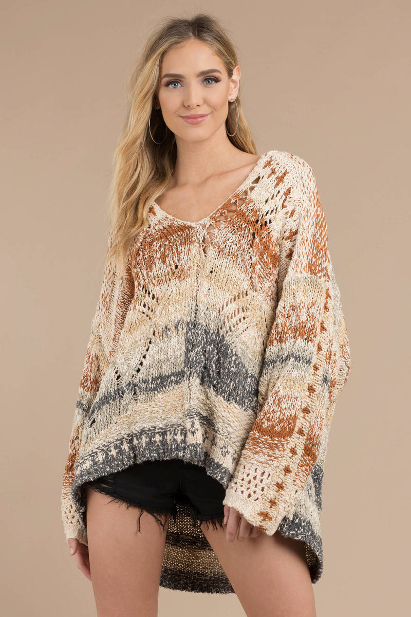 2d8d3625bbc Free People Free People In My Arms Multi Pullover Sweater