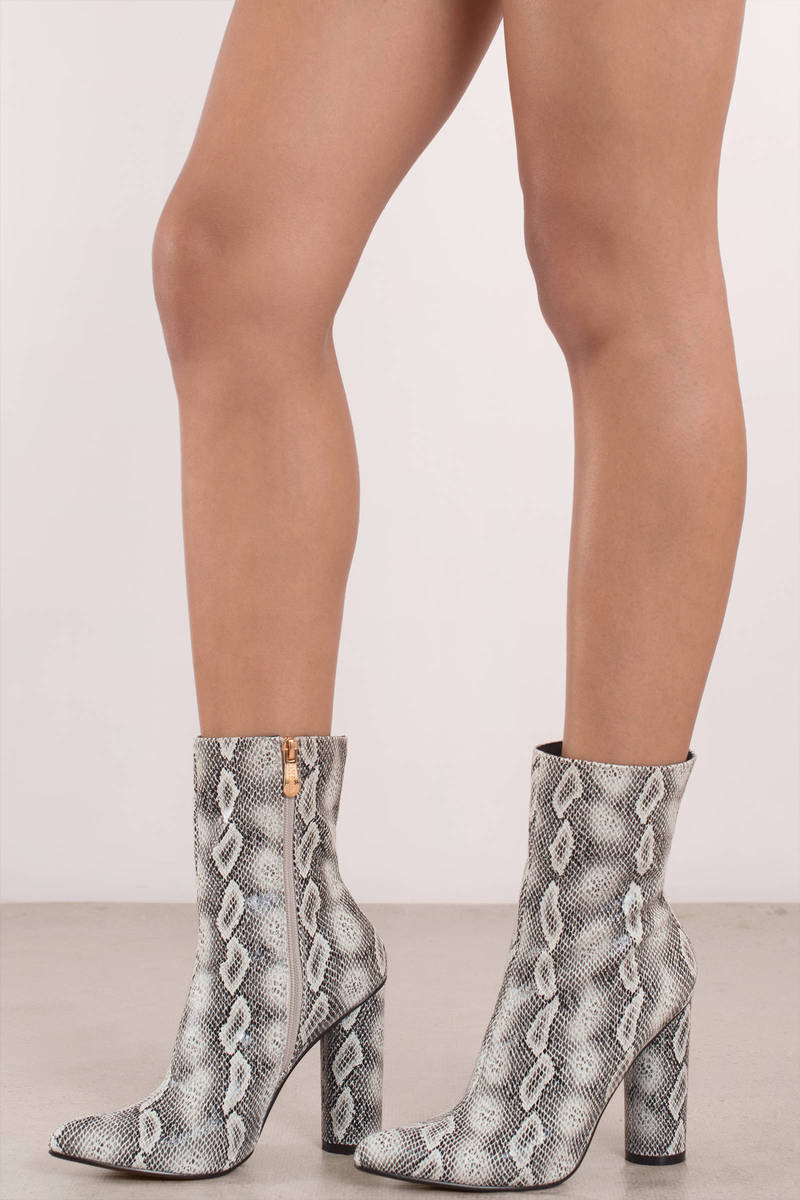 NEW WITH BOX Faux Snake Skin Ankle Bootie