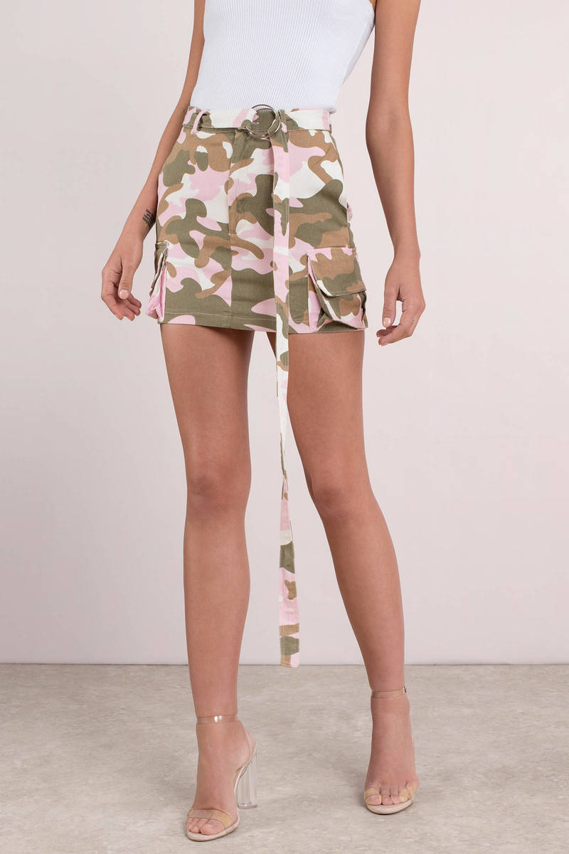 236571132370 Pink Skirt - Belted Mini Skirt - Pink Camo Mini Skirt - $18 | Tobi US