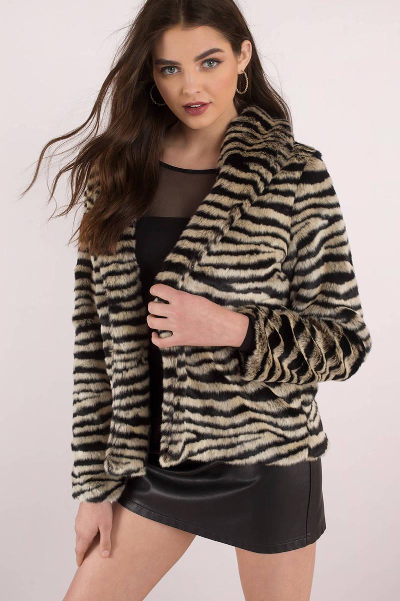 0d6c9c2d8ad8 Black Stone Row Fur Coat - Animal Print Coat - Black Faux Fur O ...