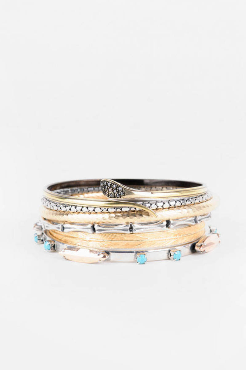 Iosselliani Mixed Metal Multi Bangle Bracelet Set
