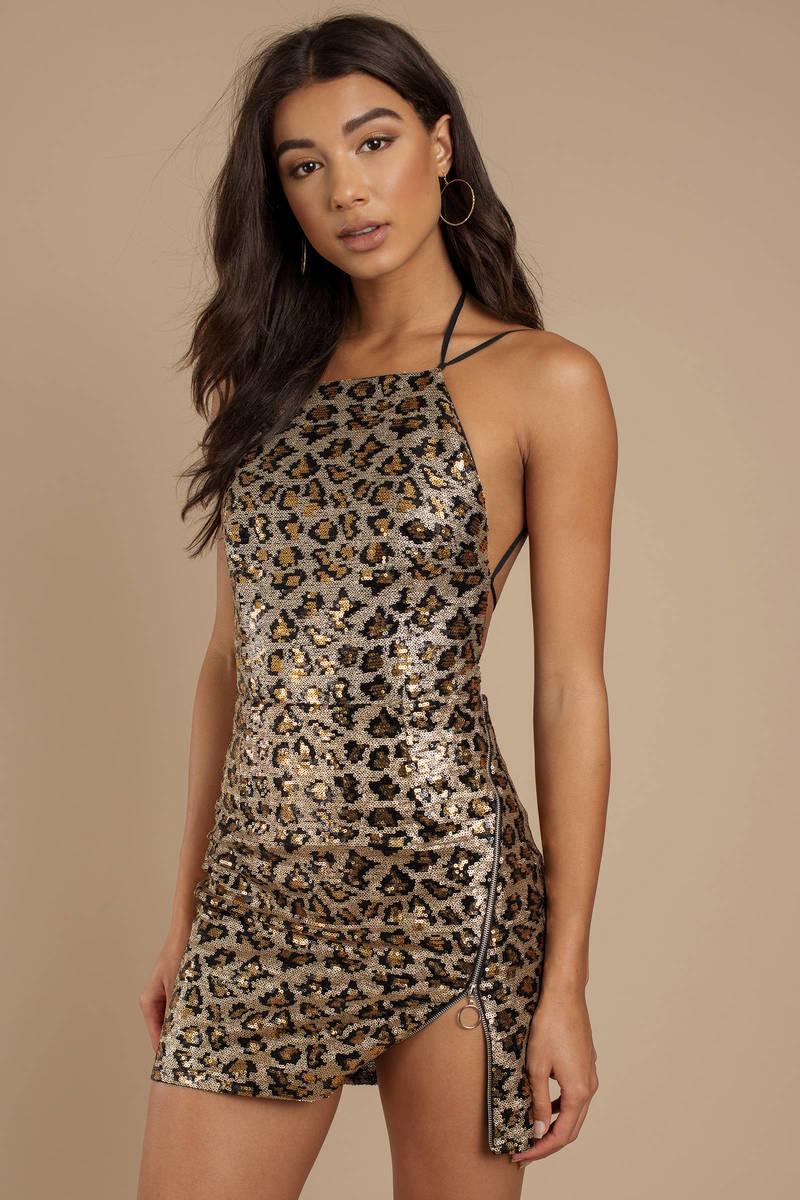 85ab26bc Brown Dress - Animal Print Dress - Brown Backless Leopard Print Mini ...